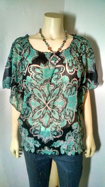 INC International Concepts Size X-large Floral Stretchy P1032 Top green, black