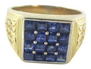 14KT SOLID YELLOW GOLD RING MENS JEWELRY SIZE 10 JEWEL 8 DIAMONDS .08 CARAT