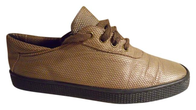 Item - Antique Gold Textured Leather Sneakers Size US 7 Regular (M, B)