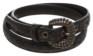 Bottega Veneta Bottega Veneta Black Intrecciato Leather Skinny Belt (Size 34)