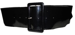 Wide patent leather belt