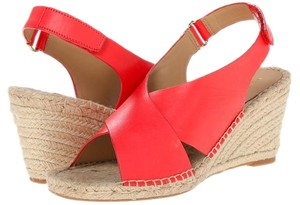 Isaac Mizrahi Leather Wedge Sandal Coral Sandals