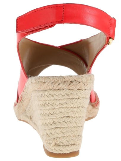 Isaac Mizrahi Leather Wedge Jute Coral Sandals