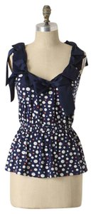 Anthropologie Ric Rac Ribbon Polka Dot Blue Top navy