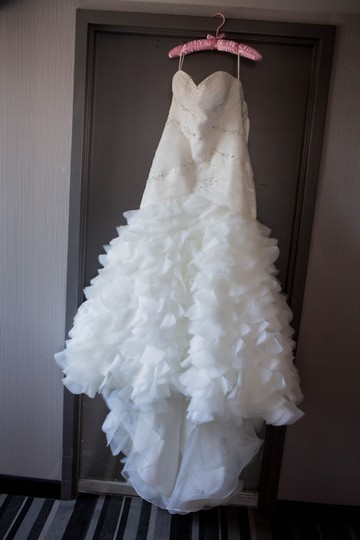 Mori Lee Ivory & Silver Tulle 1619 Sexy Dress Size Petite 12 (L)
