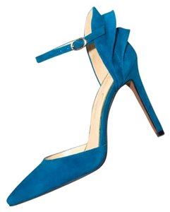 Jessica Simpson Leather Suede Ankle Strap Naples Teal Pumps