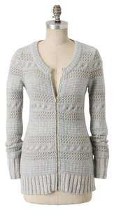 Anthropologie Knit Wool Blue Zipper Tunic Cardigan