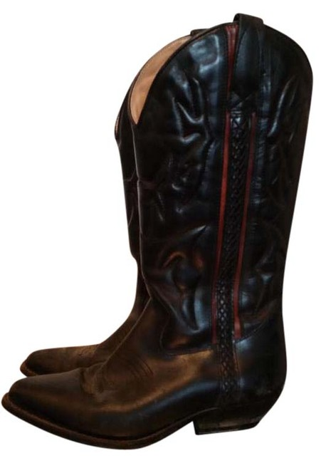 Cole Haan Black with Red Detailing Cowboy Western Boots/Booties Size US 7.5 Regular (M, B) Cole Haan Black with Red Detailing Cowboy Western Boots/Booties Size US 7.5 Regular (M, B) Image 1