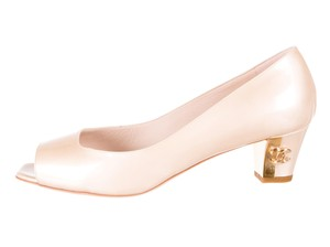 Chanel Peep Toe Hardware Beige, Gold Pumps