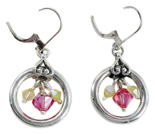 Preload https://item2.tradesy.com/images/silver-pink-yellow-sterling-circle-dangle-earrings-15985081-0-2.jpg?width=440&height=440