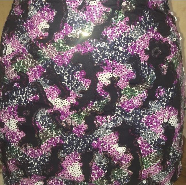 Sacred Style Mini Skirt Black with purple, white, and green