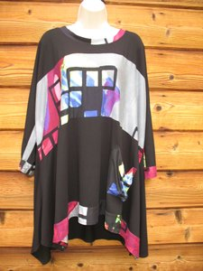 Transparente Black Label Jersey Art Artsy Oversized Top Black Muti