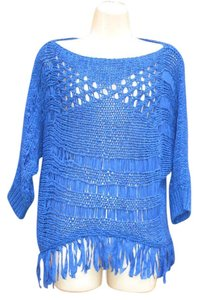 Alberto Makali Open Knit Fringe 3/4 Sleeve Sweater