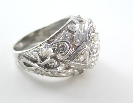 Other 14KT SOLID WHITE GOLD RING MEN JEWELRY SCROLL DESIGN 19 DIAMONDS .60 CARAT FINE