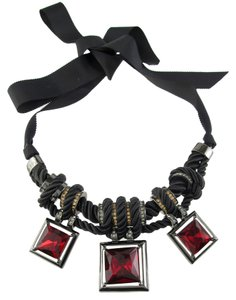 Kenneth Cole Kenneth Cole Necklace 'Modern Garnet' Red Twisted Knot Square Crystals Statement