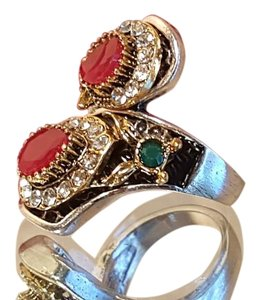 Bohemian Vintage Style Ring Silver , Ruby Red , Emerald Green