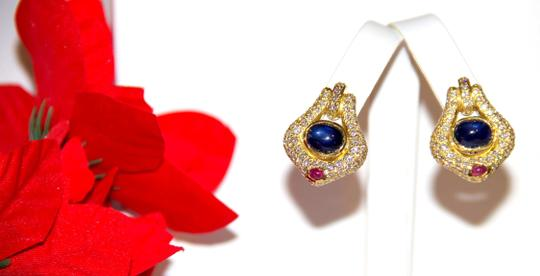 Ella Bridals Gorgeous Diamond Pave With Sapphire Gem's Earrings