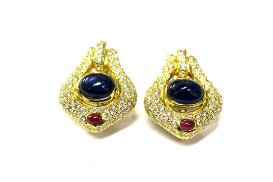 Pave Gorgeous Diamond Pave With Sapphire Gem's Earrings