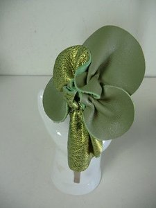 Other Cara Couture York Green Beige Leather Flower Headband