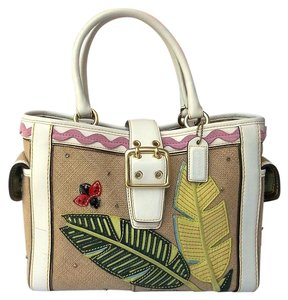 Coach Ladybug Tote in Cream and White and Multiple Appliques