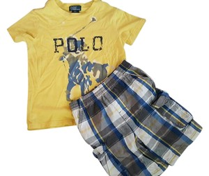 Ralph Lauren T Shirt Yellow Graphic Tee 3T/ Plaid Multi short 3T