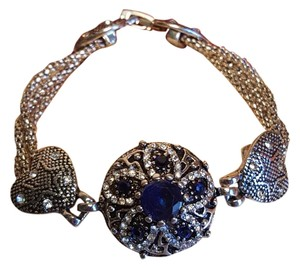 Stunning Bohemian Bracelet Austrian Crystals silver plated Blue Sapphire Crystals