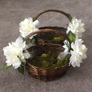 Brown with White Flower Girl Basket