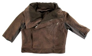 Rick Owens Cropped Leather Moto Brown Leather Jacket