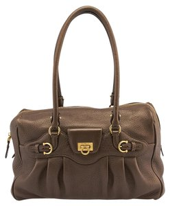 Salvatore Ferragamo Leather Satchel in Bronze