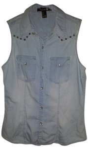 Forever 21 Sleeveless Denim Shirt Button Down Shirt blue