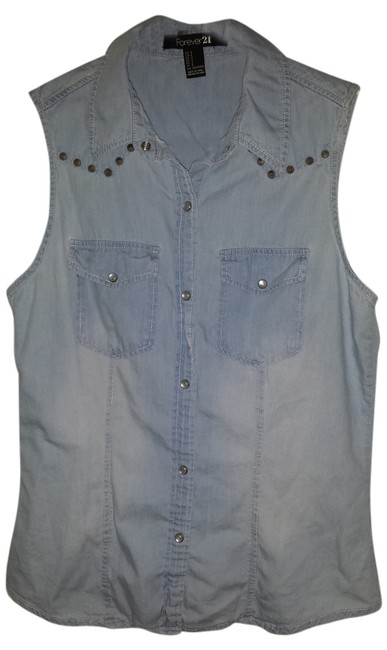 Forever 21 Sleeveless Denim Shirt Studded Button Down Shirt blue