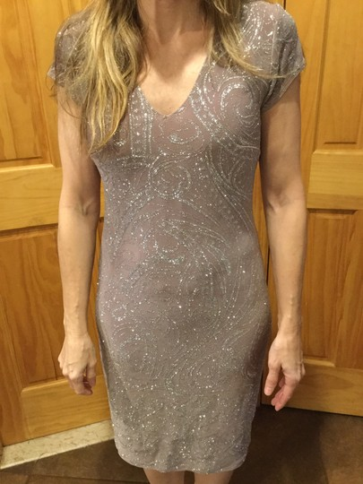 Marina Taupe Silver Sparkle Knee Length Casual Bridesmaid/Mob Dress Size 6 (S)