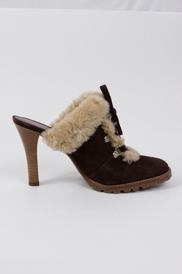 Gianni Bini Suede Stowe Faux Fur Brown Mules