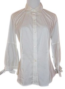 Howe 2 Blouse Shirt Pintuck Button Down Shirt White