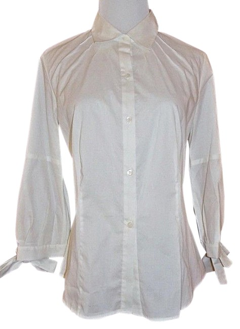 Preload https://img-static.tradesy.com/item/15988231/white-34-sleeve-shirt-blouse-button-down-top-size-6-s-0-1-650-650.jpg