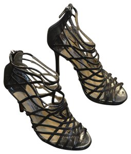 Jimmy Choo Strappy Leather Silver Platforms