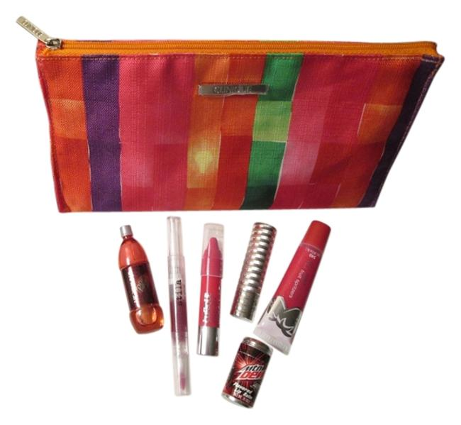 Item - Dark Pink Red Yellow Green Bundle Deal 7 Pc. Includes: 1 Large Pretty and Lip Stick and Cherry Cosmetic Bag