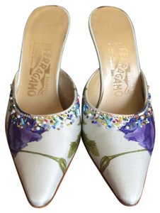 Salvatore Ferragamo Pale blue with some purple and green . Embellishehed Formal