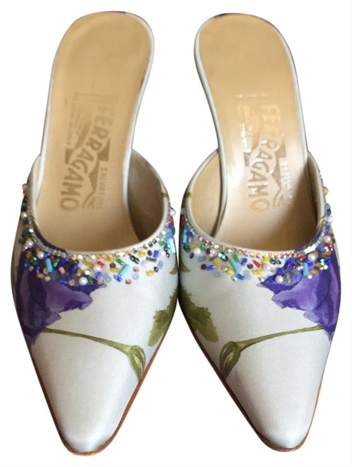 dd19d58cbac Salvatore Ferragamo Pale Blue with Some Purple and Green Embellishehed  0210168 Formal Shoes. Size  US 7.5 Regular (M ...