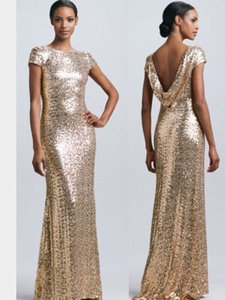 Badgley Mischka Rose Gold/Blush Sequin Cowl Back Formal Bridesmaid/Mob Dress Size 6 (S)