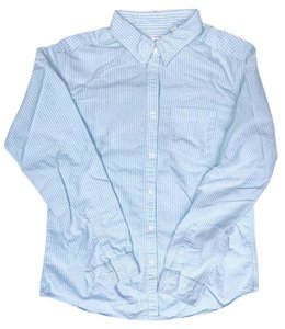 Uniqlo Striped Cotton Button Down Shirt blue & white