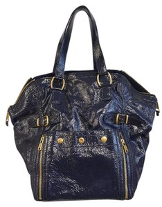 Saint Laurent Ysl Sac Patent Leather Tote in Blue With Gold