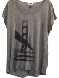Old Navy Loose Style Graphic Viscose T Shirt Gray