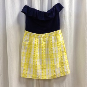 Lilly Pulitzer short dress Navy/Yellow Modal Strapless Seersucker Ruffle on Tradesy