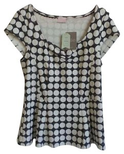 Anthropologie Polka Dot Peplum Short Sleeve T Shirt Black and White