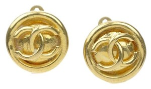 Chanel Chanel Gold CC Logo Round Button Earrings
