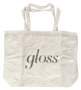 Gloss Tote in natural white w/ black writing