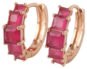 Other New Pink Sapphire 18k Rose Gold Filled Small Hoop Earrings