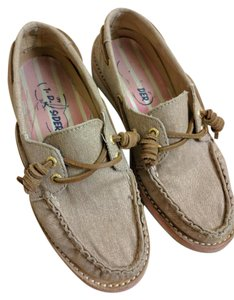 Sperry Boat Canvas Top Sider Tan/Sand and Pink Flats