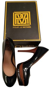 Pour La Victoire Patent Leather Platform Black Pumps